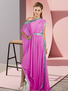 Sequins Evening Dress Lilac Side Zipper Sleeveless Asymmetrical