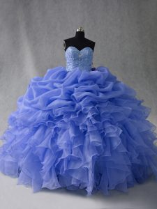 Trendy Blue Sleeveless Floor Length Beading and Ruffles and Pick Ups Lace Up Quince Ball Gowns