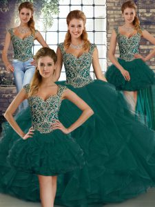 Luxury Straps Sleeveless Sweet 16 Dress Floor Length Beading and Ruffles Peacock Green Tulle