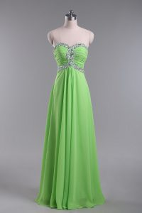 Traditional Zipper Sweetheart Beading and Ruching Prom Dress Chiffon Sleeveless