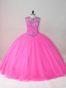 Charming Rose Pink Scoop Neckline Beading 15 Quinceanera Dress Sleeveless Lace Up