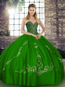 Cheap Ball Gowns Ball Gown Prom Dress Green Sweetheart Tulle Sleeveless Floor Length Lace Up