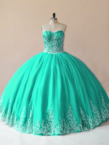 Dynamic Sleeveless Floor Length Embroidery Lace Up 15 Quinceanera Dress with Turquoise