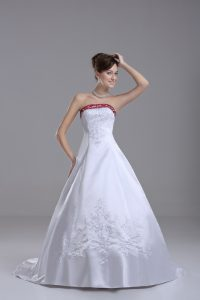 Sleeveless Beading and Embroidery Lace Up Bridal Gown with White Brush Train