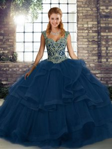 Blue Sweet 16 Dress Military Ball and Sweet 16 and Quinceanera with Beading and Ruffles Straps Sleeveless Lace Up