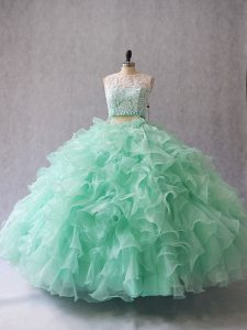 Adorable Sleeveless Floor Length Beading and Lace and Ruffles Zipper 15 Quinceanera Dress with Apple Green