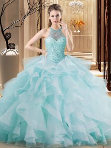 Dramatic Halter Top Sleeveless Organza Vestidos de Quinceanera Embroidery and Ruffles Brush Train Lace Up