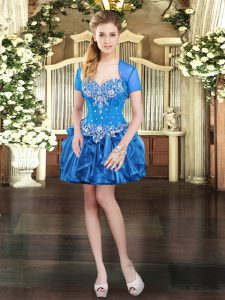 Blue Ball Gowns Sweetheart Sleeveless Organza Mini Length Lace Up Beading and Ruffles Evening Dress