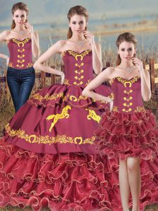 Sweet Mermaid Sleeveless Burgundy Ball Gown Prom Dress Brush Train Lace Up