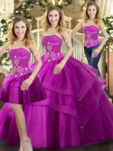 Discount Beading and Ruffled Layers Sweet 16 Dresses Fuchsia Lace Up Sleeveless Floor Length
