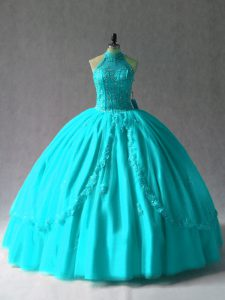 Exceptional Aqua Blue Sleeveless Floor Length Appliques Lace Up 15th Birthday Dress