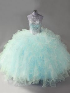 Affordable Light Blue Sleeveless Beading and Ruffles Floor Length Ball Gown Prom Dress