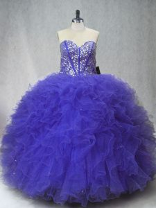 Superior Purple Sleeveless Beading and Ruffles Floor Length Quinceanera Dresses