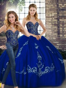 Great Sleeveless Floor Length Beading and Embroidery Lace Up 15 Quinceanera Dress with Royal Blue