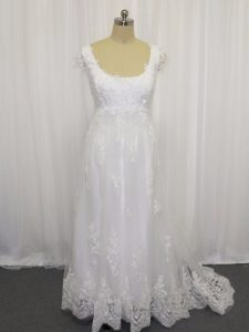 Most Popular White Empire Beading and Lace Wedding Dresses Lace Up Tulle Cap Sleeves