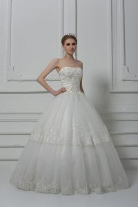 Sleeveless Floor Length Beading and Lace Lace Up Bridal Gown with White