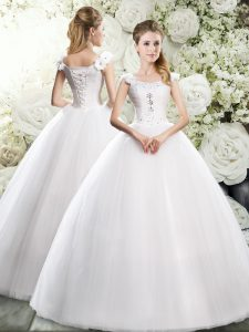 White Ball Gowns Tulle Straps Sleeveless Beading and Hand Made Flower Floor Length Lace Up Wedding Dresses