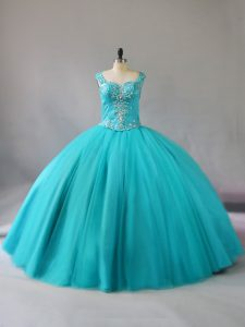 Colorful Aqua Blue Zipper Quinceanera Gowns Beading Sleeveless Floor Length