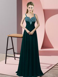 High Quality Peacock Green Sleeveless Floor Length Beading Zipper Dress for Prom