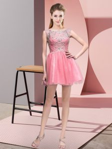 Best Mini Length Pink Prom Evening Gown Tulle Sleeveless Beading