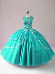 Cheap Turquoise Ball Gowns Beading Quinceanera Gown Zipper Tulle Sleeveless Floor Length