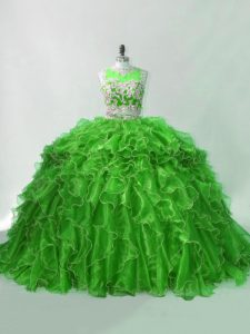 Beading and Ruffles Quinceanera Dress Green Zipper Sleeveless Brush Train