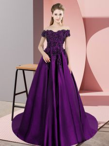 A-line Sleeveless Eggplant Purple 15th Birthday Dress Court Train Zipper