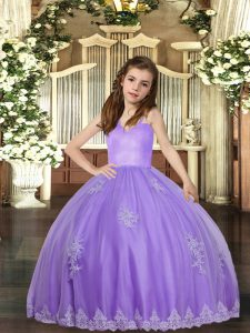 Inexpensive Ball Gowns Pageant Dresses Lavender Straps Tulle Sleeveless Floor Length Lace Up