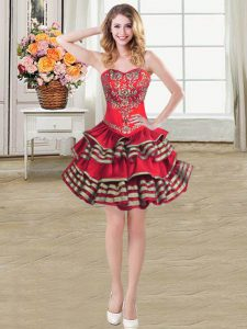 Unique Taffeta Sweetheart Sleeveless Lace Up Embroidery and Ruffled Layers in Wine Red