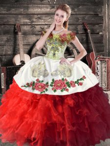 White And Red Ball Gowns Off The Shoulder Sleeveless Organza Floor Length Lace Up Embroidery and Ruffles Vestidos de Quinceanera