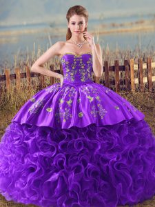 Discount Purple Fabric With Rolling Flowers Lace Up Sweetheart Sleeveless Sweet 16 Dress Brush Train Embroidery and Ruffles
