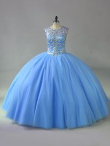 Blue Lace Up Scoop Beading Quinceanera Gowns Tulle Sleeveless