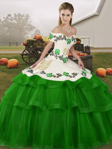 Lace Up 15th Birthday Dress Green for Military Ball and Sweet 16 and Quinceanera with Embroidery and Ruffled Layers Brush Train