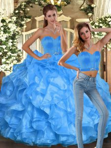 Baby Blue Sleeveless Organza Lace Up Ball Gown Prom Dress for Sweet 16 and Quinceanera