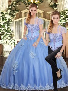 Customized Light Blue Tulle Lace Up Strapless Sleeveless Floor Length Sweet 16 Dress Beading and Appliques