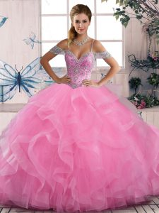 Rose Pink Lace Up Quinceanera Gown Beading and Ruffles Sleeveless Floor Length