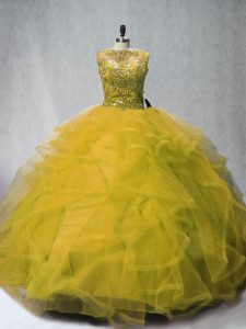 Olive Green Lace Up 15 Quinceanera Dress Beading and Ruffles Sleeveless Court Train