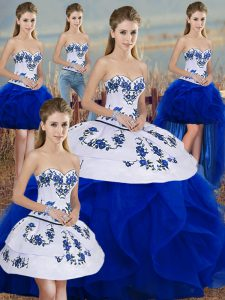 Simple Royal Blue Tulle Lace Up Quinceanera Gown Sleeveless Floor Length Embroidery and Ruffles and Bowknot