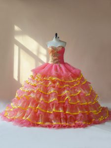 High Quality Sleeveless Organza Lace Up 15th Birthday Dress in Pink with Beading and Ruching