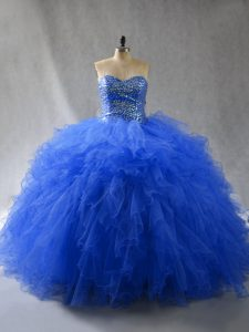 Fancy Sleeveless Lace Up Floor Length Beading and Ruffles Quinceanera Gown