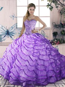 Lavender Ball Gown Prom Dress Sweet 16 and Quinceanera with Beading and Ruffled Layers Sweetheart Sleeveless Lace Up