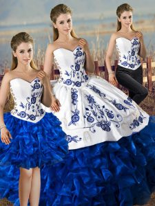 Chic Blue And White Sweetheart Lace Up Embroidery and Ruffles Sweet 16 Dresses Sleeveless