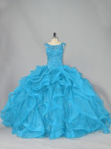 Glorious Sleeveless Brush Train Lace Up Beading and Ruffles Quince Ball Gowns