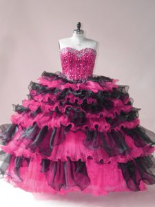 Elegant Ball Gowns Sleeveless Pink And Black Quinceanera Dress Lace Up