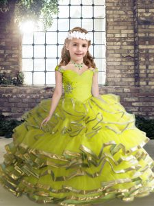 Perfect Straps Sleeveless Lace Up Pageant Dress for Girls Yellow Green Organza