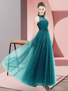 Elegant Floor Length Teal Quinceanera Court of Honor Dress Halter Top Sleeveless Lace Up