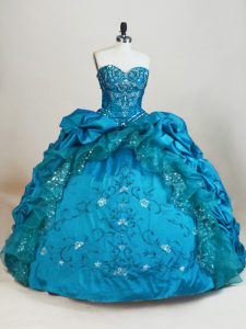 Baby Blue Sweetheart Lace Up Beading and Embroidery and Pick Ups Ball Gown Prom Dress Sleeveless