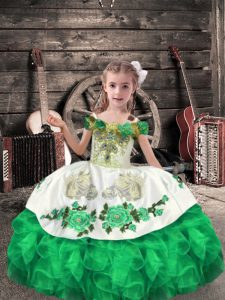Off The Shoulder Sleeveless Lace Up Pageant Dresses Green Organza
