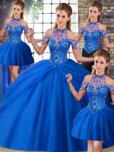 Blue Sleeveless Tulle Brush Train Lace Up Quince Ball Gowns for Military Ball and Sweet 16 and Quinceanera