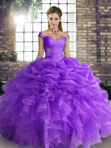 Luxurious Lavender Off The Shoulder Lace Up Beading and Ruffles and Pick Ups Quinceanera Dresses Sleeveless